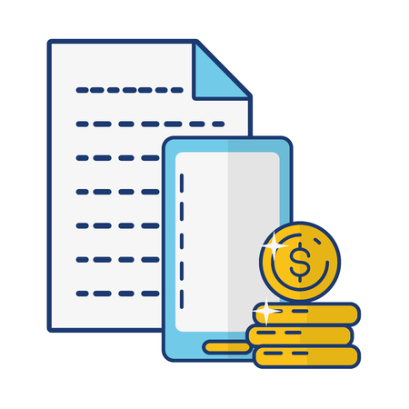 smartphone coin stack report online payment vector illustration 일러스트