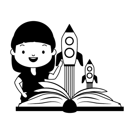girl reading textbook fantasy - world book day vector illustration Çizim