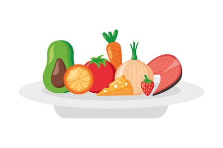 fruits vegetables food on dish world health day vector illustration Çizim