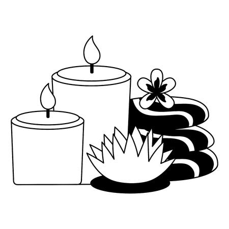 bougies pierres fleurs traitement spa thérapie illustration vectorielle