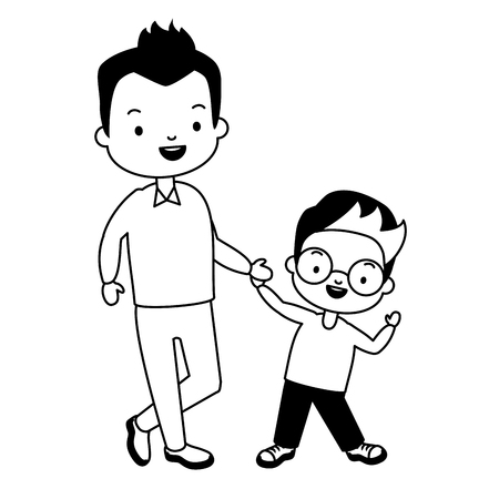 dad and son holding hands - fathers day vector illustration