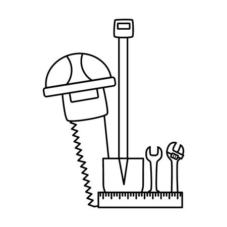 helmet saw shovel wrench construction tool vector illustration