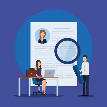 businesspeople with curriculum vitae and magnifying glass vector illustration
