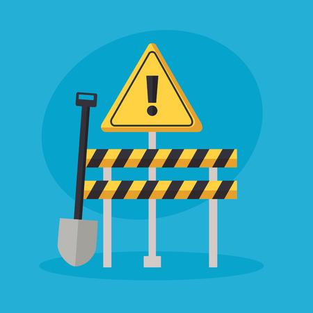 construction equipment shovel barrier warning sign vector illustration Иллюстрация
