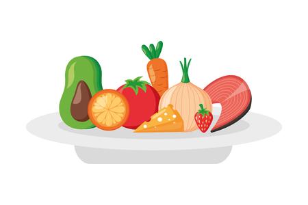 fruits vegetables food on dish world health day vector illustration  イラスト・ベクター素材