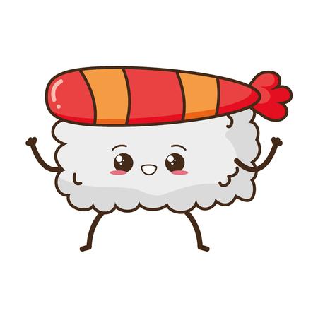 kawaii sushi rice fast food vector illustration