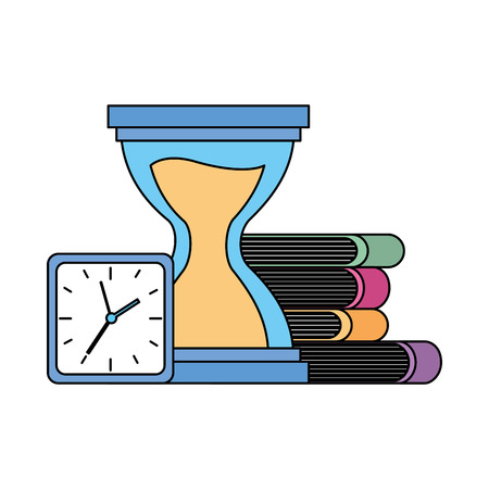 hourglass clock books time on white background vector illustration
