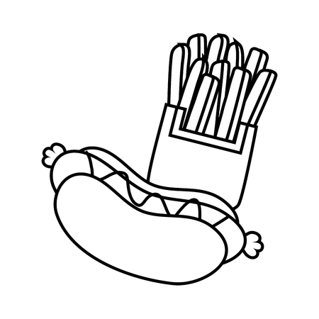 hot dog and french fries on white background vector illustration Ilustração