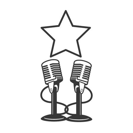 microphone sound retro icon on white background vector illustration Иллюстрация