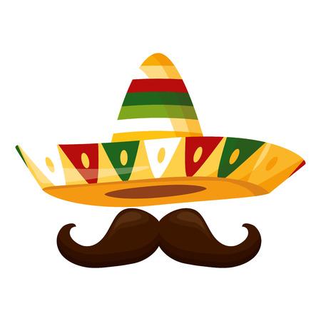mexikanischer Hut mit Schnurrbart-Design-Vektor-Illustration