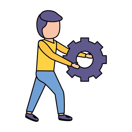 man holding gear work white background vector illustration Ilustrace