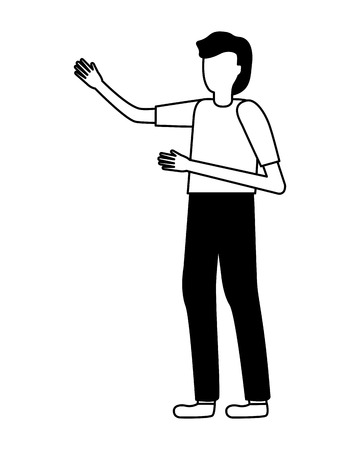 man gesturing hands on white background vector illustration Illustration