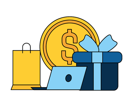 online shopping laptop gift bag money vector illustration 向量圖像
