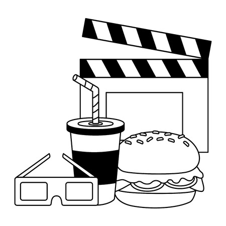 cinema burger soda 3d glasses fast food vector illustration design Illusztráció