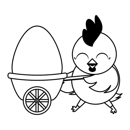 beautiful hen with egg painted in wheelbarrow vector illustration design