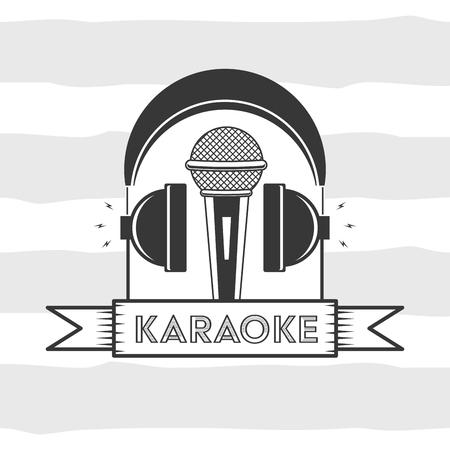 microphone and headphones karaoke retro style vector illustration