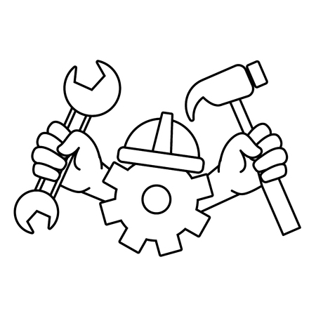 happy labour day hands gear hammer wrench tools vector illustration Illustration