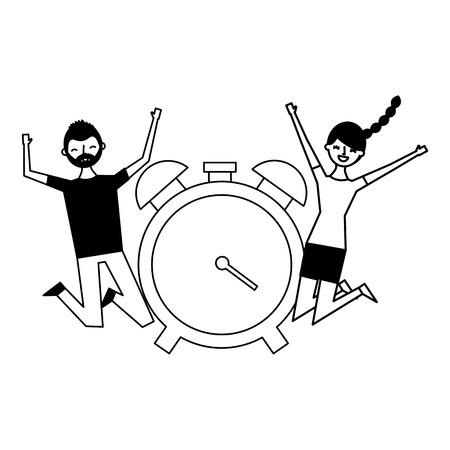 happy man and woman clock alarm vector illustration Stock Vector - 121196254