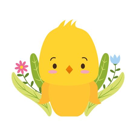cute chicken cartoon flower leaves vector illustration design Foto de archivo - 123230680