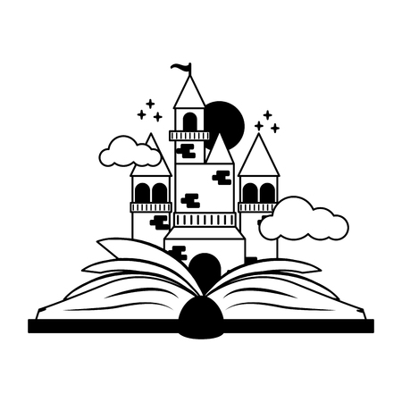 textbook fairy castle world book day vector illustration