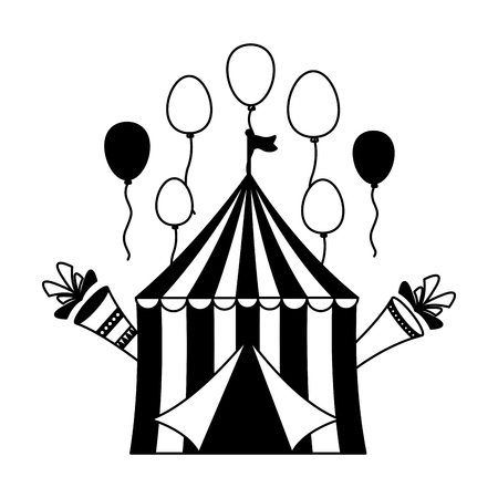 carnival tent balloons fireworks vector illustration design