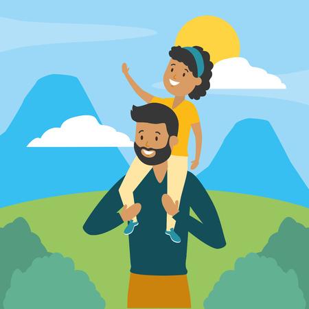 family father carrying her daughter on shoulders vector illustration design Ilustração