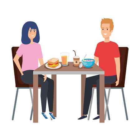 young couple eating in table characters vector illustration design Ilustração