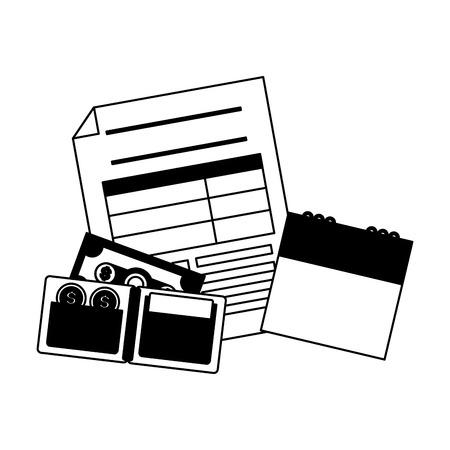 calendario modulo portafoglio banconote denaro pagamento tasse illustrazione vettoriale Vettoriali