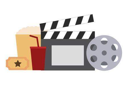 set di film oggetti icona illustrazione vettoriale design