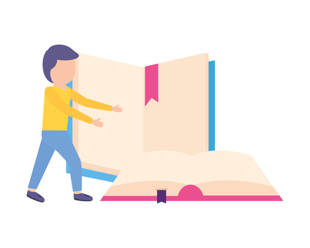 man student with books learning vector illustration Illustration