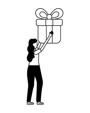 woman holding gift box surprise vector illustration