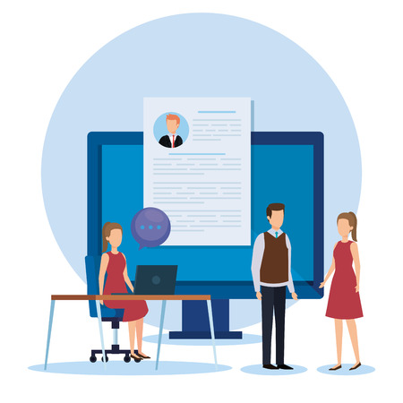 professional businesspeople with chat bubble and curriculum vitae vector illustration Ilustrace