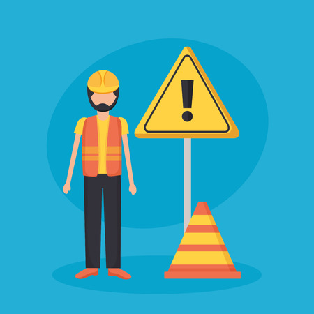 worker construction with warning sign vector illustration