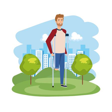 Mann in Krücken Charakter Vector Illustration Design illustration Vektorgrafik