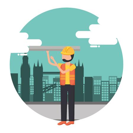 worker construction tool city background vector illustration Illustration