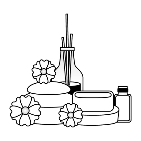 aromatherapy sticks soap stones flowers spa therapy vector illustration