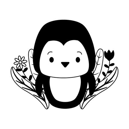 cute penguin cartoon flowers leaves vector illustration design Stock Vector - 121196543