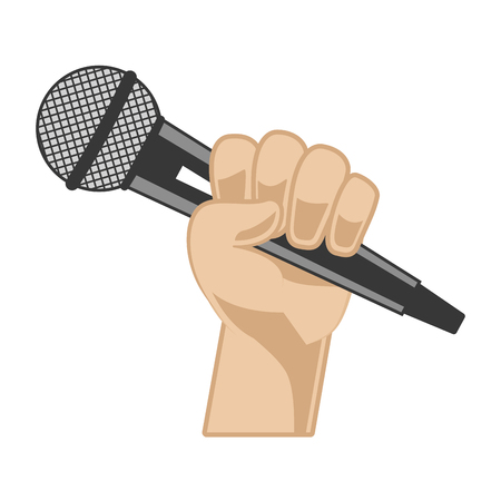 hand with microphone karaoke musical vector illustration Çizim