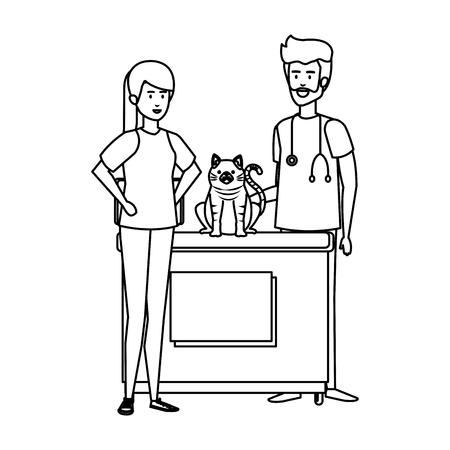 Médico veterinario masculino con gato y propietario, diseño de ilustraciones vectoriales Ilustración de vector