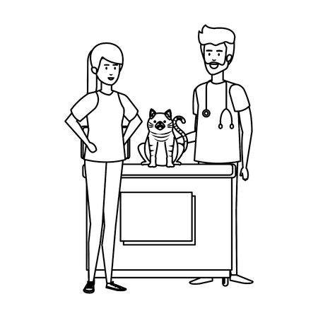 male veterinary doctor with cat and owner vector illustration design Vektorové ilustrace