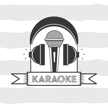 microphone and headphones karaoke retro style vector illustration