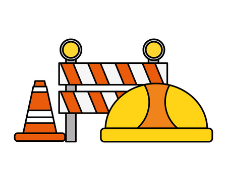 hardhat barrier cone traffic construction tool vector illustration