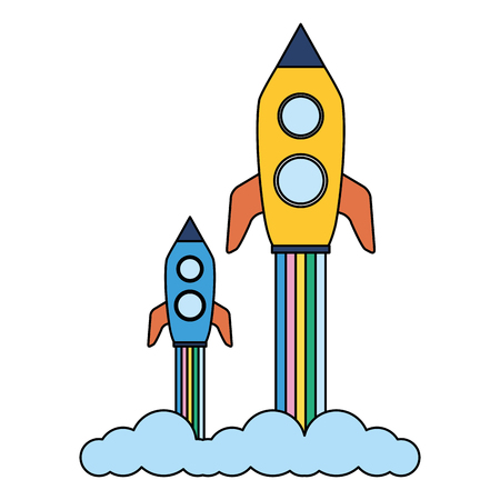 launch rockets spaceship on white background vector illustration Illustration