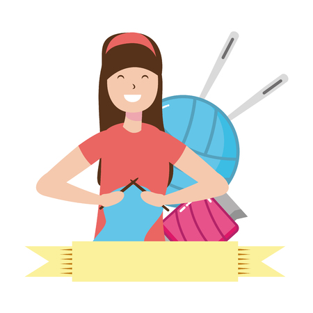 woman knitting with wool hobby vector illustration Çizim