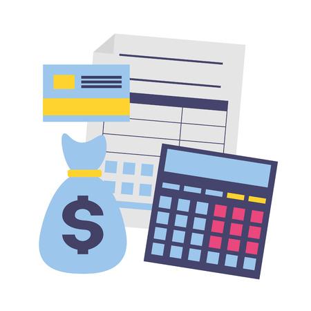 tax payment document calculator money bag bank card vector illustration