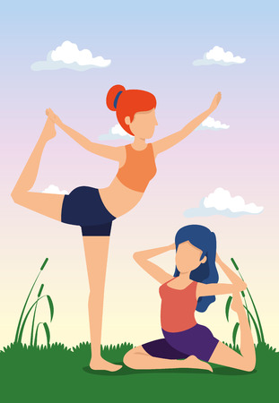 women practice yoga exercise with plants vector illustration