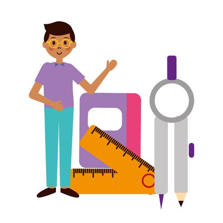student compass ruler book teachers day vector illustration Illustration