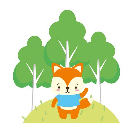 cute fox cartoon trees vector illustration design