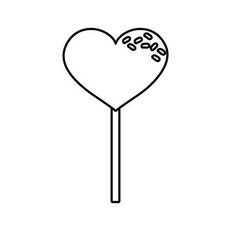 sweet lollipop heart on white background vector illustration