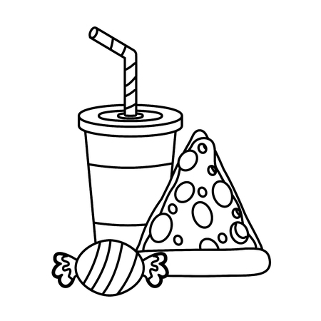 pizza soda and candy food outline vector illustration Banque d'images - 123231772